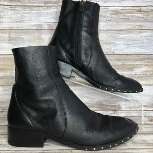 Topshop Womens 7.5M Soft Black Leather Ankle Boots